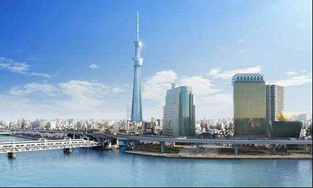 隅田川から新東京タワーを望むの図