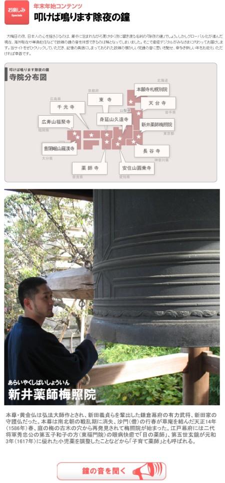 「叩けば鳴ります除夜の鐘」寺院分布図と、東京の新井薬師梅照院のようす。高速連射してもご利益に代わりは無いので、念のため。高橋名人なら7秒足らずで打ち終えられるのかしら?(違)