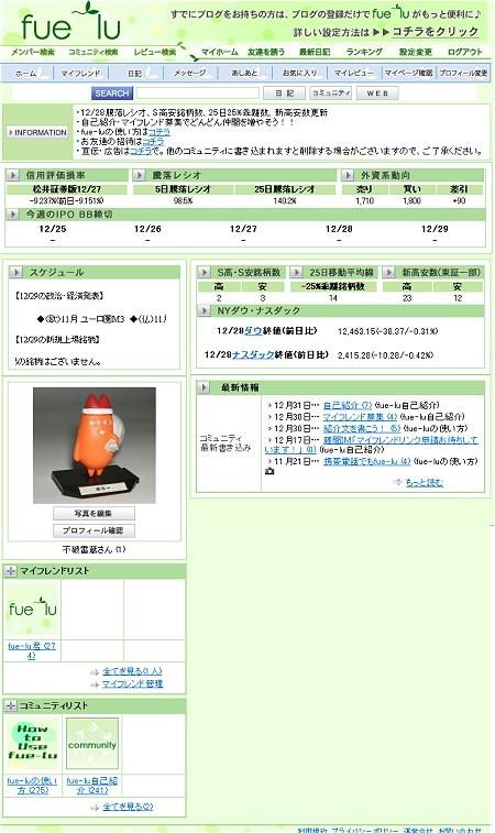 実際に登録してトップページを確認。基調色がライトグリーンである以外、mixiとほぼ変わらない。