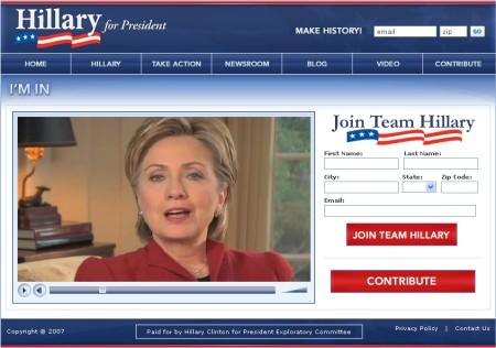 ネット上動画で大統領選への立候補を表明するヒラリー・クリントン嬢