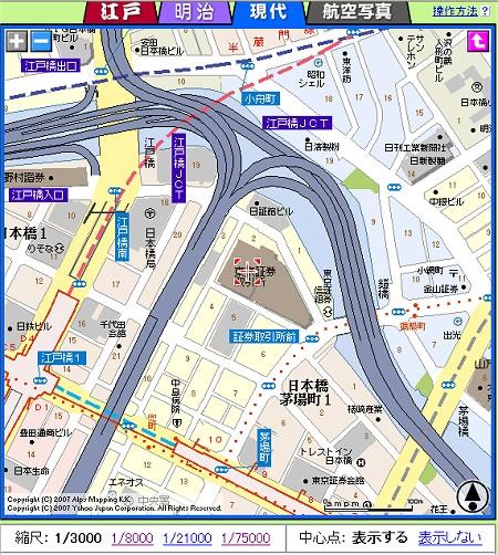 現在の東京証券取引所とその周囲。首都高速が周囲を走り、すぐそばには日本橋駅もみえる。