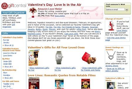 「バレンタインデー好き好き派」のページ(Valentine's Day: Love Is in the Air)。愛する相手のためのプレゼントがずらりと用意されている。