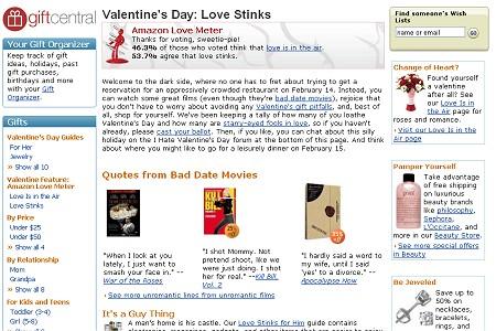 「バレンタインデーなんて宇宙の果てまで飛んでいけ派」のページ(Valentine's Day: Love Stinks)。憂鬱なバレンタインデーを一人で過ごすためのアイテムや、憎たらしい相手に贈るための(そしてもちろんジョークとして笑える)商品が用意されている。