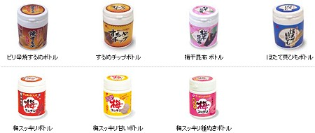 なとりから発売されている「ボトル」製品一覧。ピリ辛焼きするめやほたて貝ひももある。