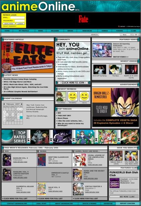 animeOnlineトップページ。目新しさは無いが、これまでのさまざまなニーズをぎっしりと詰め込んだスタイル。
