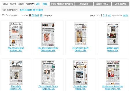 「今日の新聞一面」の一覧。色々な新聞がそれぞれの主張から一面を構成する記事を決定しているのが分かる。