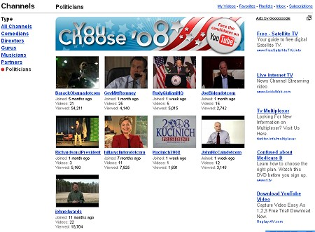 YouTube You Choose'08トップ画面。さまざまな大統領選挙立候補者がアピールのための動画を掲載している。