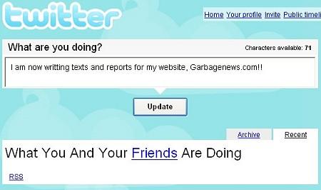 ↑ 昔のツイッターの入力画面。「What are you doing?(今何してる?)」という問いに答える形で答えていく。タイムライン上には「自分の友人(=フォロー対象者)は何をしているか」として自分自身とフォロー対象者のツイートが表示されていく。