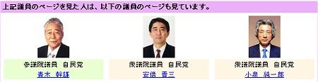 ためしに自民党麻生太郎氏を選択したところ、青木幹雄氏・安倍晋三氏・小泉純一郎氏の三議員もよく閲覧されている、との結果が出た。