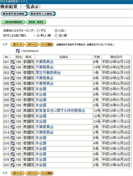 ためしに発言者名を「安倍晋三」、検索ワードを「美しい国」と「日本」で検索してみた。該当発言は20件。多いのか少ないのか微妙なところ。