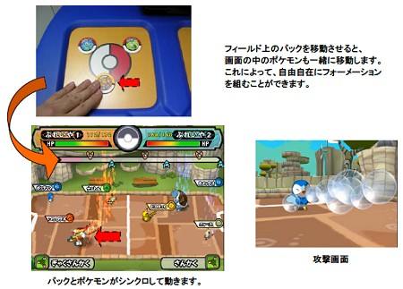 「パック」を動かすと画面上のポケモンが連動して移動する。