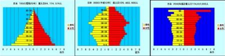 左から順に1950年・2000年・2040年の人口ピラミッド。縦軸が年齢(下が0歳、上が80歳以上)、黄色が男性、赤が女性。1950年はきれいなピラミッド型をしているのが、2000年にはバランスが崩れ、2040年には医学の進歩などで超高齢化社会(80歳以上が多いのでグラフが突き出ている)が到来しているのが分かる。