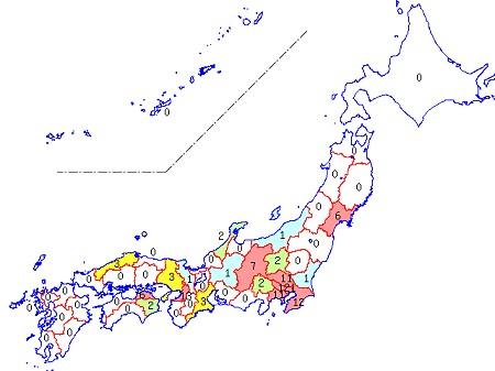 5月2日現在の各都道府県別麻疹報告数。関東地方に集中しているのが分かる。