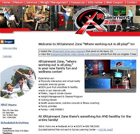 XRtainment Zoneのサイト。家族みんなで楽しく遊んで汗をかき、健康状態をキープしようという意図が見て取れる。