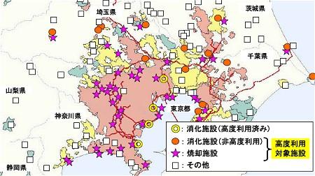 関東近辺の対象施設の例。施設を整備すれば高度利用=バイオガスの有効活用が可能な下水汚泥処理施設は多く存在する。