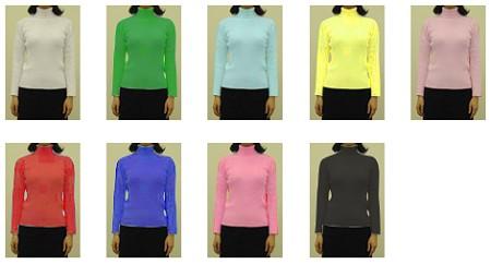9種類のセーター写真。……さて、どの色が一番スマートに見える?