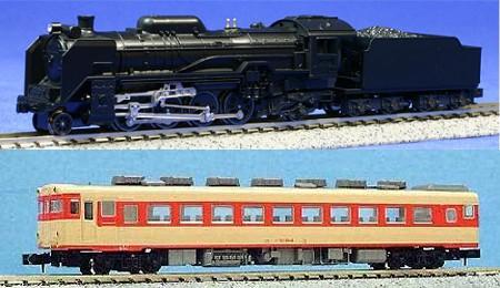 D51(上)とキハ58の国鉄色(下)。いずれも前世紀の遺物となってしまった、しかし当時の日本の鉄道機関を支えた鉄道車両達である(写真は両社ともNゲージの商品)。