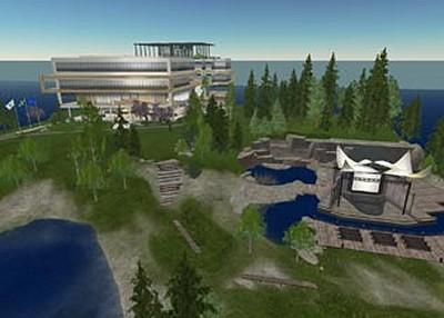 『セカンドライフ』内スウェーデン大使館全景。美しい自然に囲まれた島に位置している。