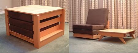 ユニットボックスに納めれた基本スタイル(左)と最もオーソドックスな使い方・テーブルと椅子(右)。