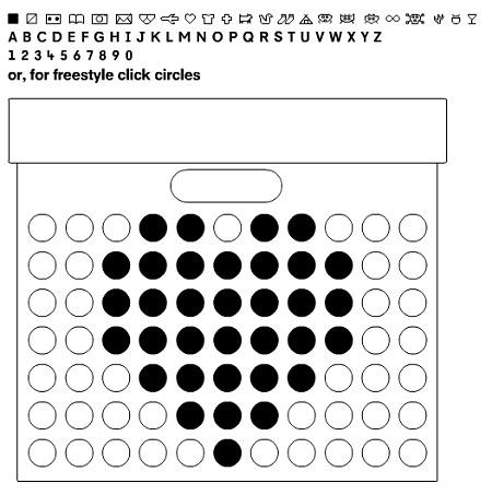ドット絵シミュレーター。上部には具体例のデザインもいくつか用意されていて、クリックすると「どの部分の穴を開ければよいのか」が分かる。