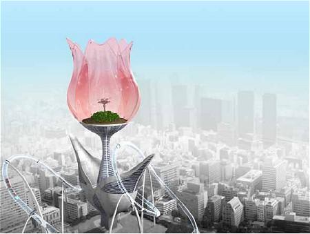 『セカンドライフ』住民向けの物件。『シムシティ』の未来都市に出てきそうな造型