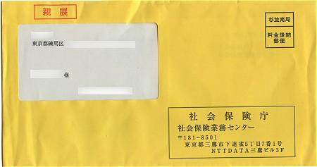 社会保険庁から届いた黄色い封筒。ハンカチのように幸福を呼ぶ黄色い封筒になるのかどうか……