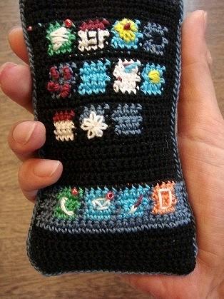 binaemonさん作「編み物・iPhone」。各アイコンの造型も凝っている。