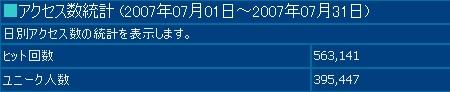 2007年7月度の月間アクセス数