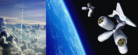 打ち上げられる移動用宇宙船と「宇宙ホテル」への接舷。
