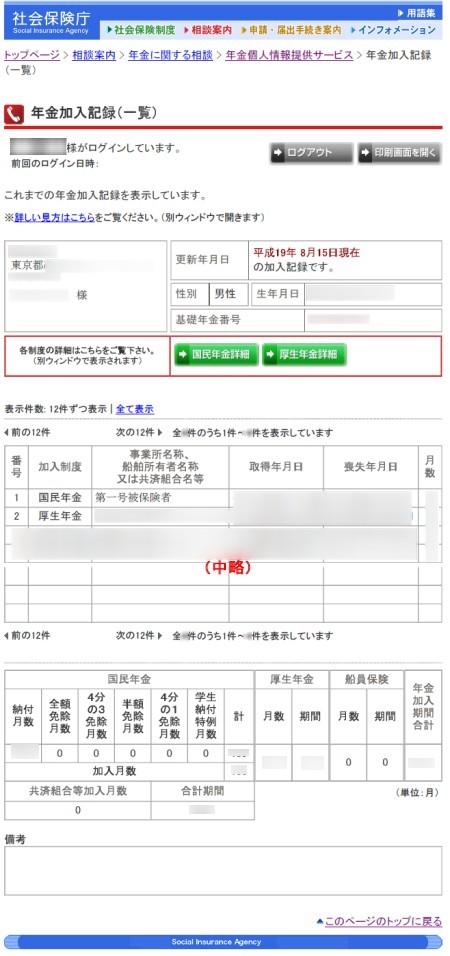 ログイン後最初に現れる「年金加入記録(一覧)」画面。