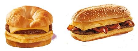 アメリカメニューから、「クロワッサンウイッチ」(左)と「イノーマスオムレツサンドウィッチ」(右)。通常メニューの「ワッパー」とは違った味わいを楽しめそうだ。