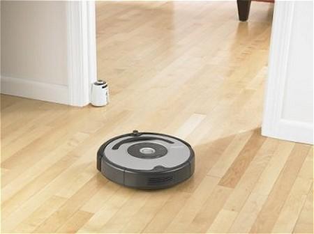バームクーヘンか厚手のマンホールのような「ルンバ(Roomba)」。奥手の扉部分にあるバーチャルウォールユニットで「掃除エリア」を区切ることも出来る。