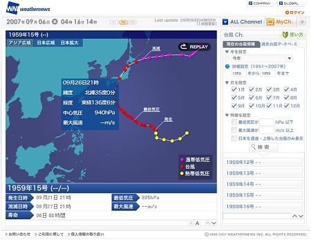 試しに日本に上陸したものとしては最大級の台風、伊勢湾台風(1959年9月)のデータを参照してみた。