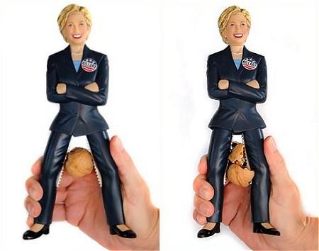 鋼鉄の女、クルミを微じんにする……というわけではないが。ヒラリー・クリントン女史のクルミ割り人形。