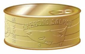 賞品のA賞・1名にあたる時価100万円相当の18金サケ缶詰。中身はカラ。