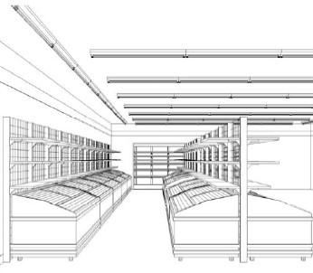 店内イメージ。冷凍食品コーナーがずらりと並ぶ。これまでのコンビニとは少々異なる雰囲気。