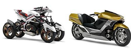 テッセラクト(左)とラクシア(右)。両車ともエンジンとモーターによるハイブリッド方式の車両。テッセラクトはもうバイクの域を超えているし、ラクシアはSF映画に出てきそうな外観。
