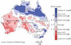 オーストラリアにおける5月から7月の降水量。