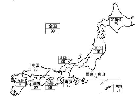 10月15日現在地域別作況指数