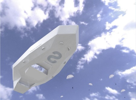 飛行船「Strato Cruiser」。既存の飛行船とはややイメージが異なる、角ばったデザイン。
