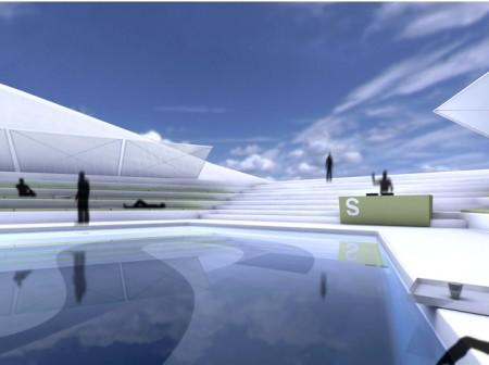 プールもあるが……高度次第では「世界で一番高い場所にあるプール」になりそう。