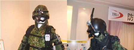 左側が「次世代近接戦闘情報共有システム」、右側が「視界機能を拡張するシステム」の頭部。微妙にカメラが違うのがお分かりいただけるだろうか。
