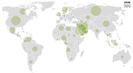 「生産量(1日あたり・バレル)」。中近東部分が多いが、意外に(?)北アメリカやヨーロッパ北部でも多くの生産量があるのが分かる。ちなみに日本は46位・12万8870バレル。