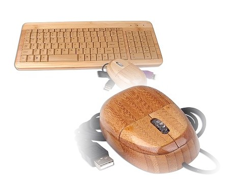 USB接続の木製キーボードとマウス「Real Wood Keyboard and Optical Mouse Set」
