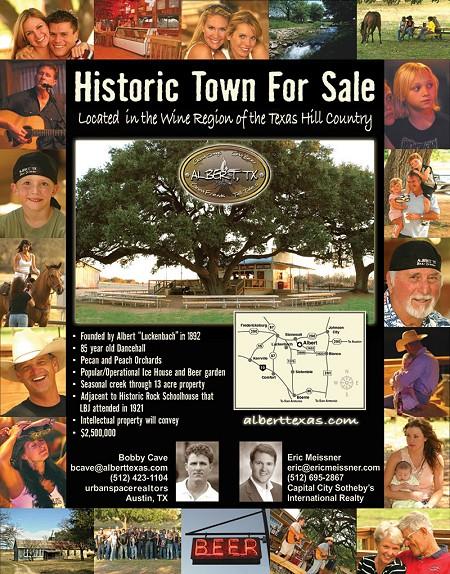 競売に出されていたAlbert村のトップページ。「Historic Town For Sale(由緒ある村、売ります)」のコピーが踊る。