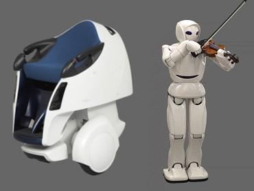 モビリティロボット(左)とバイオリンロボット(右)