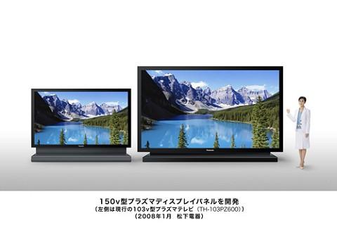 今回発表された150型プラズマディスプレイパネル(右)と現在発売中の103型プラズマテレビ(右)