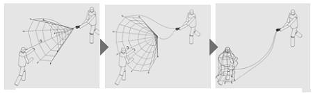 「TypeII-S」の利用方法。相手に絡んだ網を引っ張り、拘束力を高める。