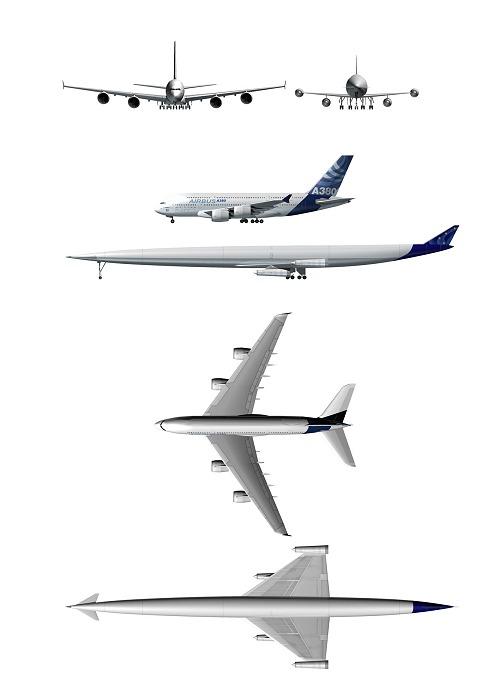 一般的な旅客機、エアバスA380との比較。A2の形状が普通の旅客機といかに違うかがよく分かる。