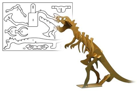 ティラノサウルスの展開図と完成図。ちなみに口が動くそうな。